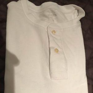 White J Crew Short Sleeve Henley Shirt
